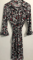 Talbots Petite Small Floral Button Front White Red Black Dress ruffle sleeve