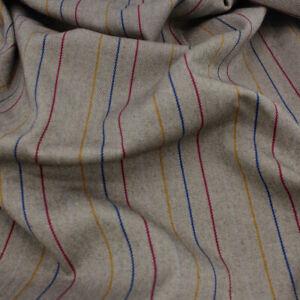 Italian Colourful Pinstripe / Camel Melange Stretch - Deadstock - Fabric Dressma