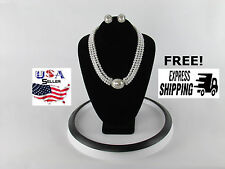 Rhinestone Crystal and Pearl Necklace Earring Set Wedding Bridal Prom Quince