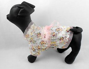 PRINCESS SMOCK  STYLE PET DRESS COTTON BLEND RIBBON TRIM AND BOW