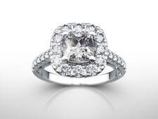 2 1/2 carat cushion CUT H/VS1 DIAMOND  ENGAGEMENT RING 14K WHITE GOLD GIFT