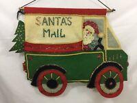 "VTG Bucilla Felt Christmas Mail Bag Card Holder Santa Sequins 20"" X 15"" MC"