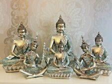Zen Buddha Ornaments Silver Blue XL L M Small Sizes Zen Playing Flute Home Decor