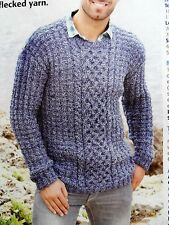 MEN'S CABLED SWEATER JUMPER ~ Knitting Pattern ~ sizes 38-48 ~ NEW