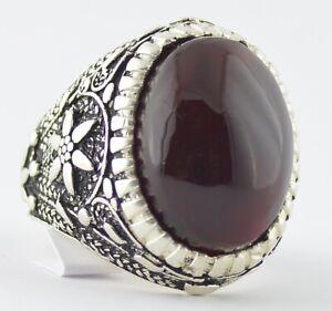 Yemen Red Kabdi Aqeeq Akik Agate Yemeni Silver Men Ring خاتم عقيق احمر كبدي يمني