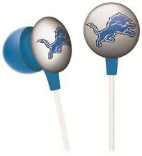 iHip Nff10200Del Nfl Detroit Lions Mini Ear Buds, Silver/Black/Blue