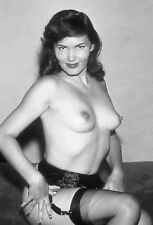 Vtg B&W 1950s Photo Girl Pinup Naughty Perky Boobs Busty Tits Risque #1357
