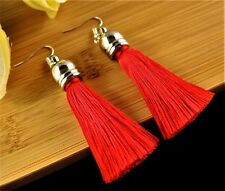1 Bohemian Pair of Red Silk Polyester Tassel Dangle Fashion Earrings #107
