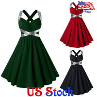 Womens Plus Size Sexy Retro Halter Dress Sequins Tunic A-Line Party Evening Gown