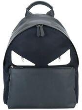 FENDI Monster Eyes Bag Bugs Leather/Nylon Backpack, Blue/Black, MSRP $1,950