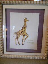 "Vintage Holly Meade Signed 15 X 17"" framed print- Giggly Giraffe"