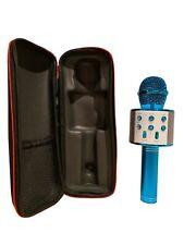 New 2020 Bluetooth Wireless Karaoke Microphone w/ Case 3-in-1 Wireless Blue
