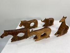 New listing Vintage Safari Animals Hand Carved Wood Napkin Holders Set of 5
