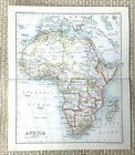 1890 Antique Map of Africa Continental African Countries Victorian 19th Century