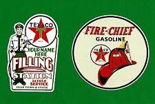 2 X TEXACO PROMO VINYL STICKER / DECAL OIL GAS PETROL GASOLINE SERVICE GARAGE