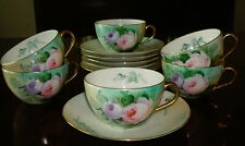 Set of 6 Rudolstadt Thuringia Germany  Teacup Saucer Handpainted Gold Trim