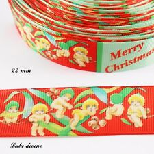 Ruban gros grain rouge & vert Merry christmas Petit Ange de 22 mm vendu au mètre
