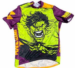 Vintage Marvel Hulk All Over Print Pearl Izumi Cycling Bike Shirt Jersey 90s