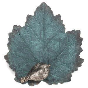 Sapphire Blue Leaf and Bird 8x2 Resin Decorative Outdoor Birdbath