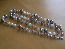"Vintage Ann Taylor Loft Crystal & Faux Pearls Silvertone Thread Wrap 39"" Signed"