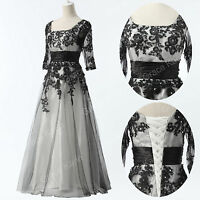 UK Women's Long Lace Evening Dress Formal Party Ball Prom Bridesmaid  Plus Size