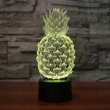 3D Pineapple Night Light 7 Color Change LED Desk Lamp Touch Room Decor Gift