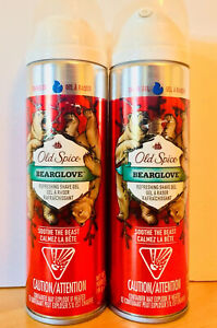 (2) Old Spice BEARGLOVE Refreshing Shave Gel 7oz Each NEW