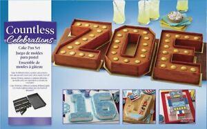 Wilton Countless Celebrations Number Letters Cake Pan Tray Tin Non-Stick Set