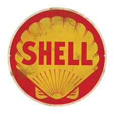 SHELL  PETROLEUM ROUND  TIN SIGN RUSTIC 35cm DIAMETER