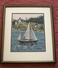 "VINTAGE NEEDLEPOINT ""SAILBOAT w HOUSES, SHORE"" 10""x12"" DBL MATTE 16""x18"" FRAMED"