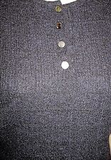 Pristine CHANEL Blue Navy black textured knit tweed CASHMERE tank top 44 M L