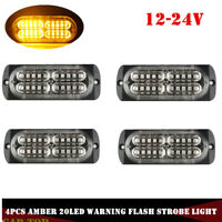 4x Yellow Amber 20 LED Light Emergency Warning Strobe Flashing Bar Hazard Grille