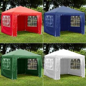 3x3m Sides Gazebo Marquee Tent Garden Party Waterproof Canopy Shelter Windbar
