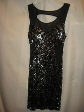 Seductions Black & Silver Sequin Stretchy Form Fitting Lined Sheer Panel Dress M