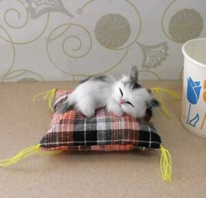 Doll House Accessories - 1 x Mini Grey & White Cat on a Cat Bed