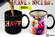 Heat Cup Sensitive Hot Reactive Changing Color Magic Coffee Mug Flowers Design
