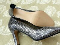 Silver Grey snake skin design leather upper court shoe.Ladies UK 5.5