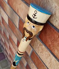 Popeye the Sailor Cane Walking Stick Wooden Handmade Wood Carving Exclusive Gift
