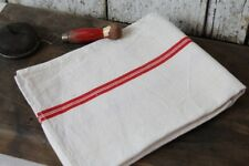 """Authentic French Vintage Feed Sack Tea Towel Red Stripes Linen 29x23"""" Runner"""