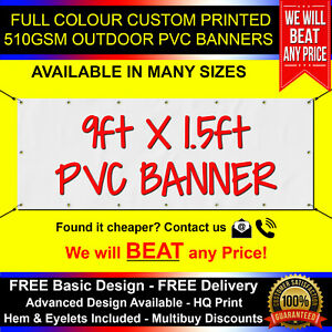 9ft x 1.5ft PVC Banner Custom Printed Outdoor Heavy Duty Banners for Advertising
