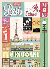 SUPERB RETRO VINTAGE PARIS TYPOGRAPHY CANVAS #416 QUALITY FRAMED ART PICTURE