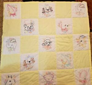 Vintage Toddler Baby Quilt Blanket Emboidered Animals Yellow White
