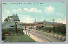 Michigan Central Railroad Station ANN ARBOR Train Depot—Rare Antique 1910