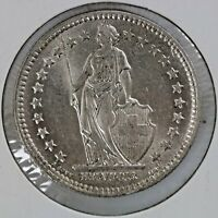 1944 Switzerland 2 Francs Silver Coin Helvetia