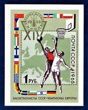 Russia Souvenir.Sheet European Basketball Championships.Sports 1965 Moscow U/M