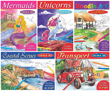 Adult Children's Colouring Book Unicorns Mermaids Coastal Scenes Colour Pencils