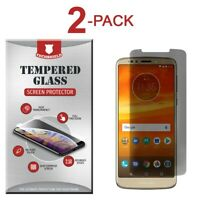 (2-Pack) Privacy Tempered Glass Film Screen Protector For Motorola Moto E5 Plus