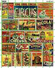 3000 DAVE'S DECALS CIRCUS POSTERS RINGLING BROS SIDE SHOW FREAK SHOW SIGNS ADS