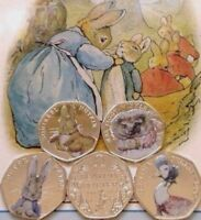 Beatrix Potter 50P Coins 2016/17 Sets Albums Rare Silver Proofs Coloured Decals
