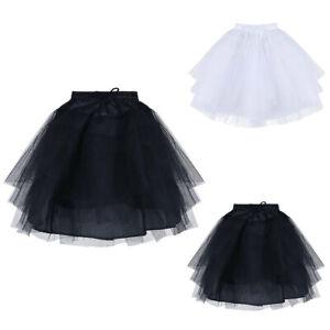 Kids Girls Vintage Net Underskirt Skirt Party Wedding Short Layered Petticoat UK